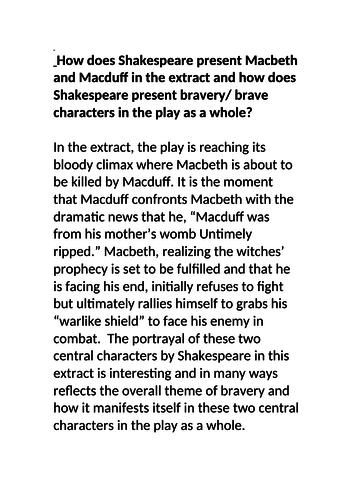 Grade 9 Macbeth exemplar essay Bravery