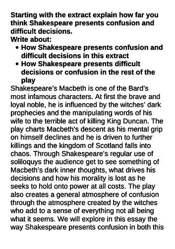 Grade 9 exemplar Macbeth essay Confusion and difficult decisions