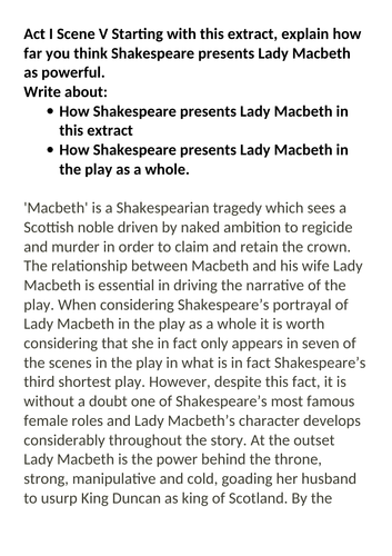 Grade 9 exemplar Macbeth essay Lady Macbeth powerful