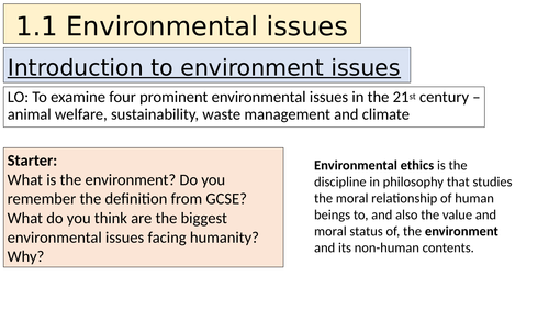 A-level Religious Studies (Edexcel) - Ethics topic 1 resources: Environment and Equality