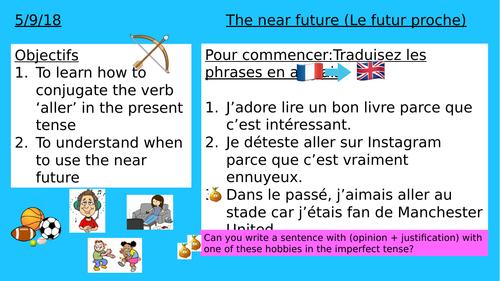 KS 3 YEAR 7 /8 NEAR FUTURE TENSE FRENCH