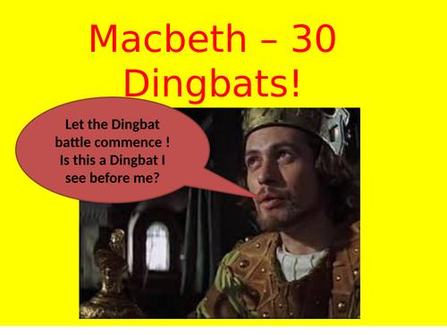 Macbeth - 30 Fun & useful Dingbats to aid GCSE! Extra ones added ! Inspector/Poetry/Jekyll