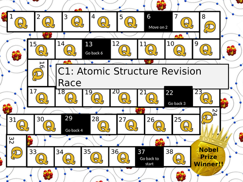 New AQA C1 Unit: Atomic Structure Revision Board Game with Questions