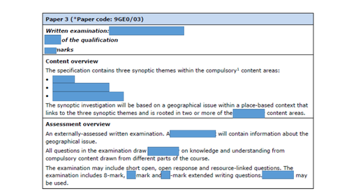 Paper 3 Synoptic Geography Edexcel Analyse command word practice