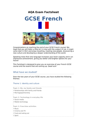 AQA French GCSE - Exam Factsheet and Overview