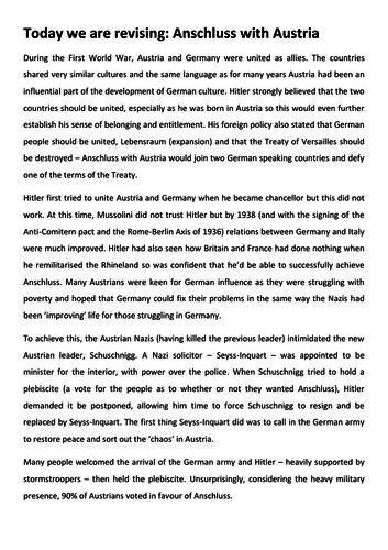 Interwar Years Revision 3 pack - Anschluss, Appeasement, Poland