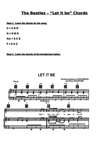 Let it Be sheet music (Piano)
