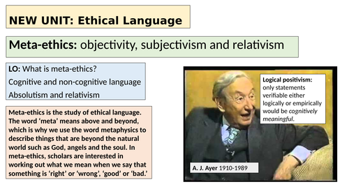 A-level Religious Studies (Edexcel) - Ethics topic 4 resources: Ethical language