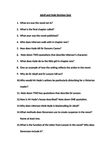 Jekyll and Hyde Revision Questions