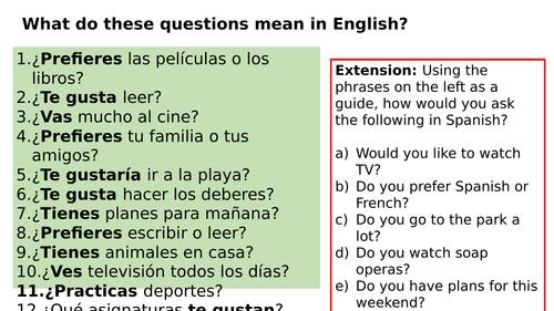 KS3 Spanish: Speaking Practice (free time)
