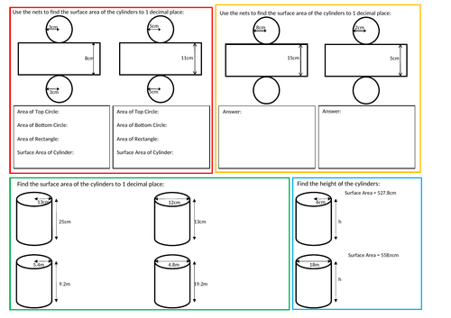 Surface Area Of A Cylinder Worksheet By Mattjones995