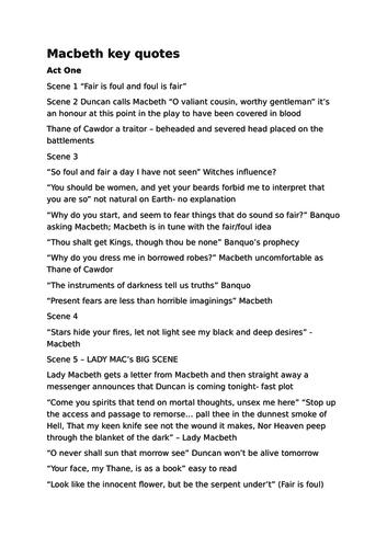 Macbeth revision crib sheet and quotes