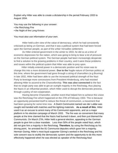 Essay exemplar for new Edxecel GCSE history (Hitler)