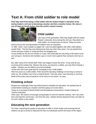 GCSE Mock Reading Paper: Child Soldiers
