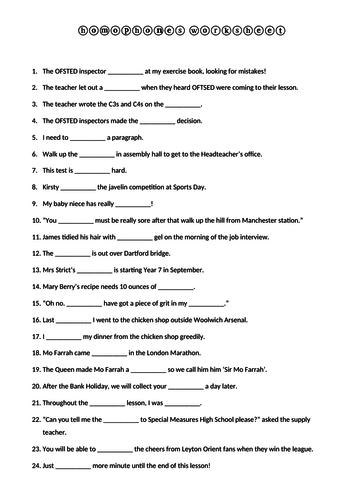 Homophones starter activity literacy KS1 KS2 KS3