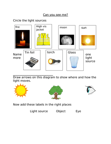 Assessment for the light and shadows science topic