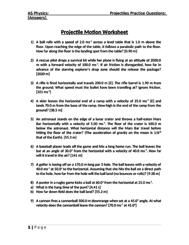 AS Physics Projectile Motion Worksheet with Answers ...