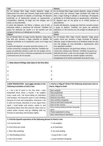 KS3 Spanish - Reading-to-write sequence on hobbies (present tense)