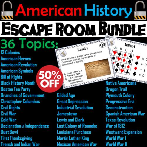 American History Escape Room Social Studies Bundle By Sciencespot