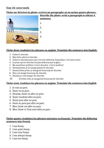 KS4 French cover worksheet