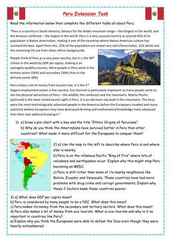 KS3 Geography Extension Task - Peru (Tourism, development, graph-drawing)