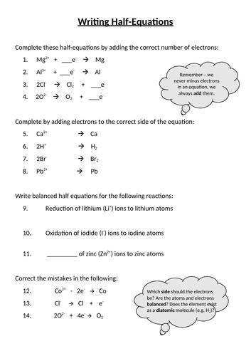 Electrolysis Half-Equations Worksheet