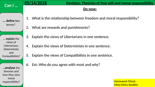 RE Revision lesson: Free Will and Moral Responsibility (A Level Ethics)