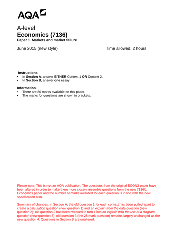 AQA A-level Economics (new spec) Additional Unit 1 Past Paper - June 2015  (re-worked)