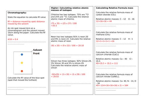 Edexcel GCSE 9-1 Combined Science Chemistry Maths Practice