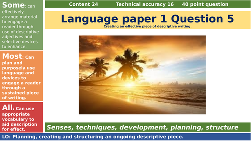 AQA language paper 1 question 5 creative descriptive writing task_ sunset