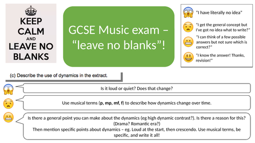 Emergency Exam Guide - What to write when you've got no idea! (Differentiated) Edexcel GCSE Music9-1