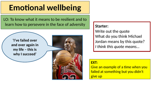 Emotional wellbeing and resilience lesson - PSHE KS3 / KS4