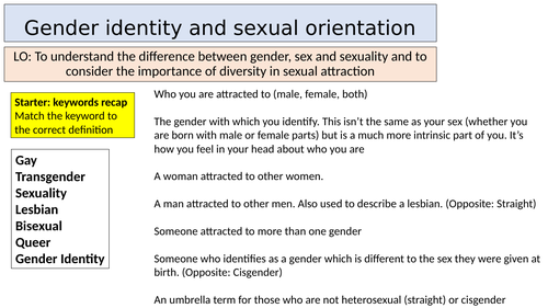 Gender identity and sexual orientation lesson - KS3 / KS4 PSHE