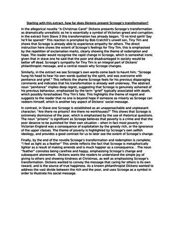 Scrooge's redemption - grade 6 model essay (AQA Literature paper One)