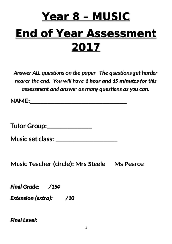 Year 8 End of Year Music Assessment