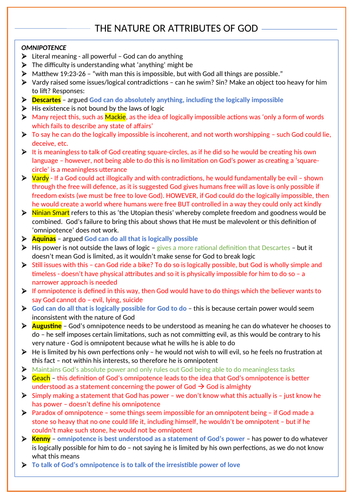 The Nature or Attributes of God - OCR Religious Studies A Level