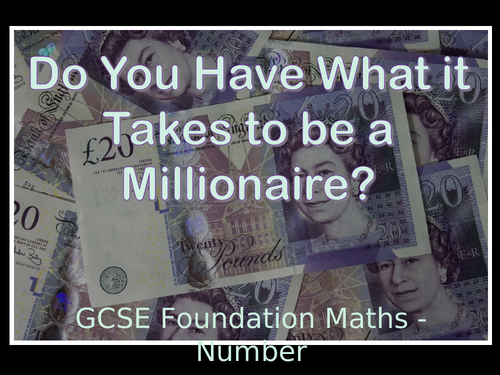 GCSE Foundation Maths Number Millionaire