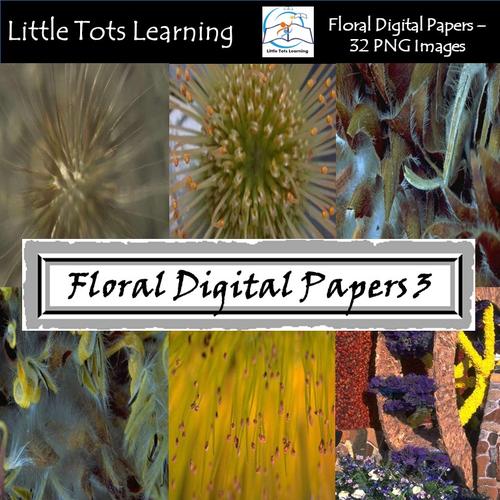 Floral Digital Paper - Exotic Flower - Commercial Use - Set 3