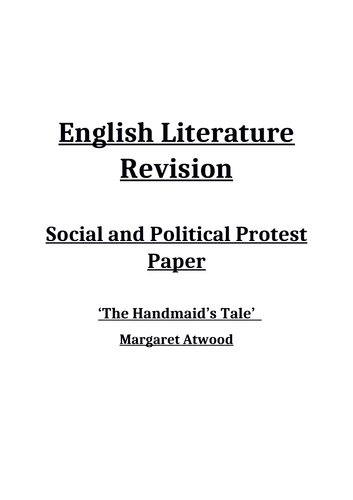 The Handmaid's Tale Revision Booklet-AQA