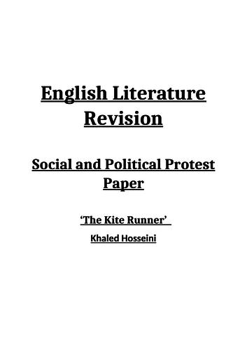 The Kite Runner Revision Booklet - AQA