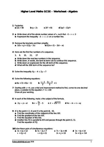 GCSE Mixed Algebra Revision Worksheet