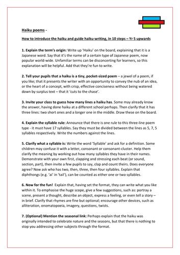 Haiku poems - how to introduce and teach haiku-writing in 10 steps - Yr 5 upwards