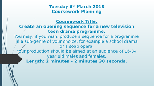 EDUQAS GCSE MEDIA STUDIES COMPONENT 3 COURSEWORK AUDIO VISUAL TEEN DRAMA PLANNING LESSON PACK