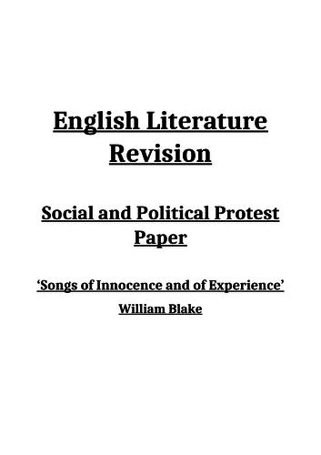 William Blake Revision Blooklet - AQA