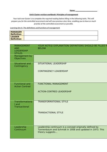 BTEC Business Level 3 Unit 6 Workbook - Principles of Management