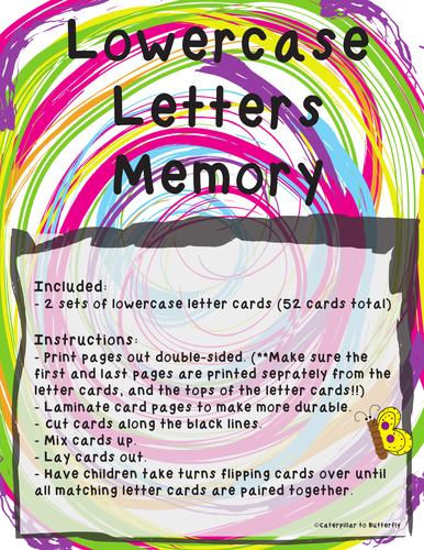 Lowercase Letter Memory