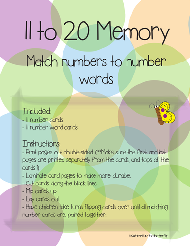 11 to 20 Number to Number Word Memory