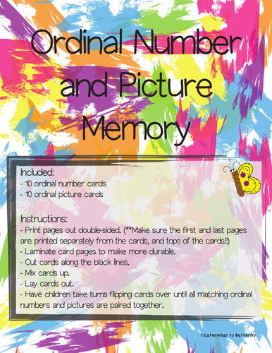 Ordinal Number (1st-10th) and Picture Memory