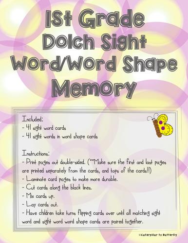 1st Grade Sight Word Memory: Word Shape Version
