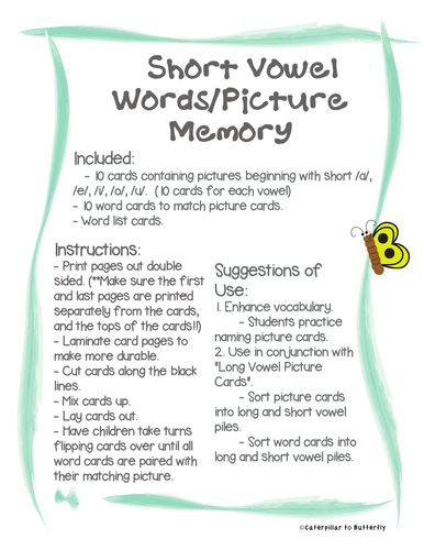Short Vowel Words and Picture Memory
